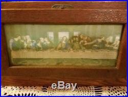 Vintage Antique Catholic House Alter Last Rites Box Chalkware Religious Priest