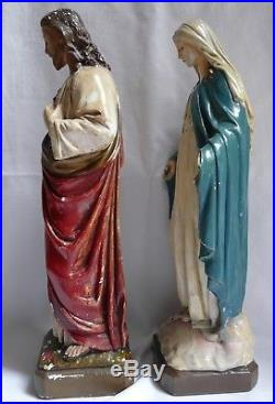 Vintage Antique Religious Figures Statues Sacred Heart of Jesus Virgin Mary 42cm 02 mcs Where to locate Women For Sale