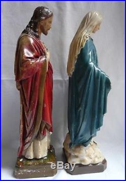 Vintage Antique Religious Figures Statues Sacred Heart Of Jesus Virgin Mary 42cm 171 Antique