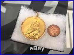Vintage Antique Solid 10k Gold Virgin With Child Religious Pendant Medallion