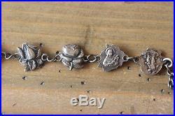 Vintage Antique Sterling Silver 9 Saints Roses Religious Bracelet 7.5