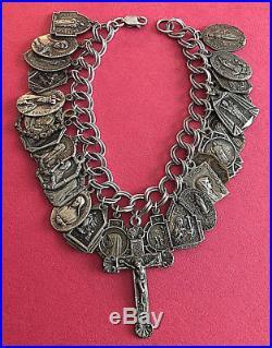 Vintage Catholic Religious Medal STERLING BRACELET 26