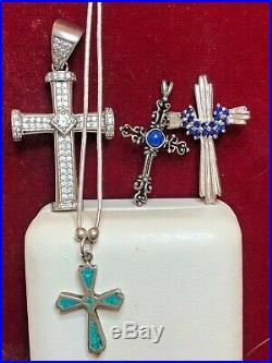 Vintage Estate Sterling Silver 4 Cross Pendant Religious Necklace Sapphire Lapis