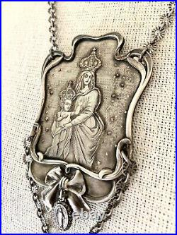 Vintage French Virgin Mary & Jesus Religious Silver Medallion Necklace withTassel