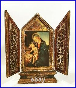 Vintage Italian altar. Religious tryptych, hand carved & painted. Exquisite