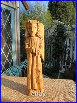 Vintage Large Wooden Carved Handmade Religious Folklore Angel with Wings