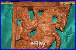 Vintage Wood Carved Hindu Religious Wall Shelf Brackets-God Horse