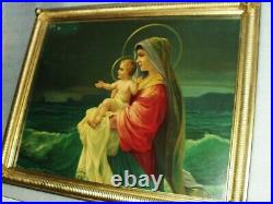 Virgin Mary Immaculate Religious Antique Chromolithograph Large Print Ornate