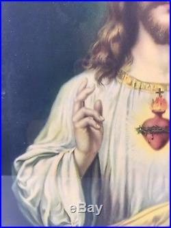 Vtg Antique 30s Sacred Heart of Jesus Framed Litho Lithograph Print Gesso Art