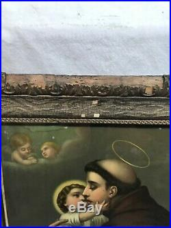 Vtg Antique ORNATE Victorian Frame Patron Saint Antony Religious Litho Print