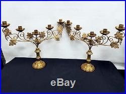 Vtg Antique Religious Altar Church Pair Gilt Leafs Brass Candelabra Candlesticks