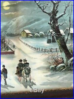 Vtg Antique Victorian Wood Chalk Framed Litho Print Winter Church Sleigh Ride