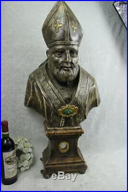 XL 32 18thc italian Antique church altar wood carved Bishop religious saint n2