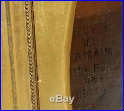 XL Antique Oil Painting Religious Rosary Latin French Inscription STUNNING FRAME