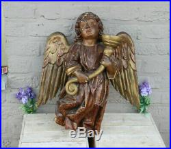 XL Church French 1880 Wood carved polychrome religious wall angel candle holder