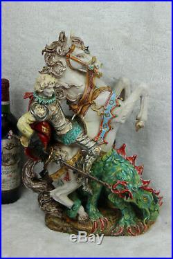 XL PATTARINO school Terracota sculpture statue religious Saint George dragon