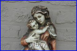 XL wood carved polychrome WAll German madonna child figurine statue religious