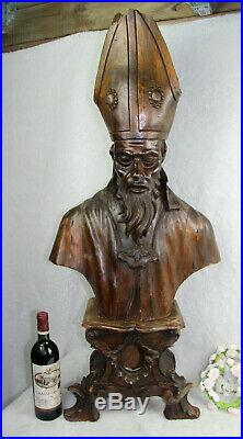 XXL 40 Antique church altar wood carved bust Bishop religious saint pedestal